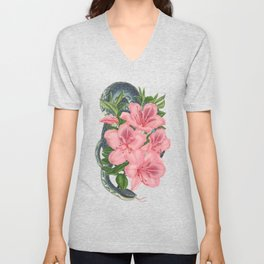Serpents and Flowers Unisex V-Neck