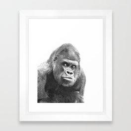 Black and White Gorilla Framed Art Print