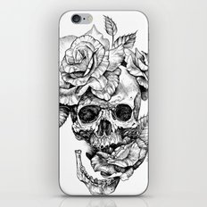 Black and White skull with roses pen drawing iPhone & iPod Skin