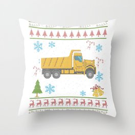 Dump Truck Christmas Ugly Shirt Construction Truck Throw Pillow