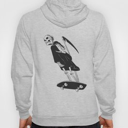 Grim reaper skater - funny skeleton - gothic monster - black and white Hoody