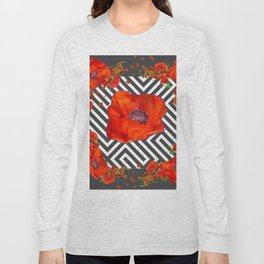 AWESOME GREY GRAPHIC ART YELLOW-RED POPPIES GARDEN Long Sleeve T-shirt
