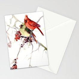 Cardinal Birds, birds art, two bird artwork cardinal bird Stationery Cards