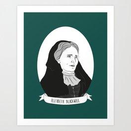 Elizabeth Blackwell Illustrated Portrait Art Print