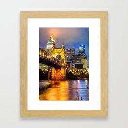 John A. Roebling Bridge - Cincinnati Ohio Framed Art Print