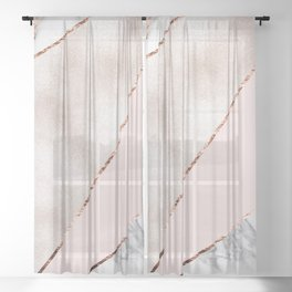 Spliced mixed rose gold marble Sheer Curtain