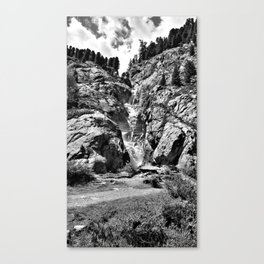 waterfall rope bridge kaunertal alps tyrol austria europe black white 2 Canvas Print