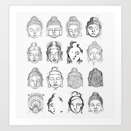 Many Buddhas Art Print