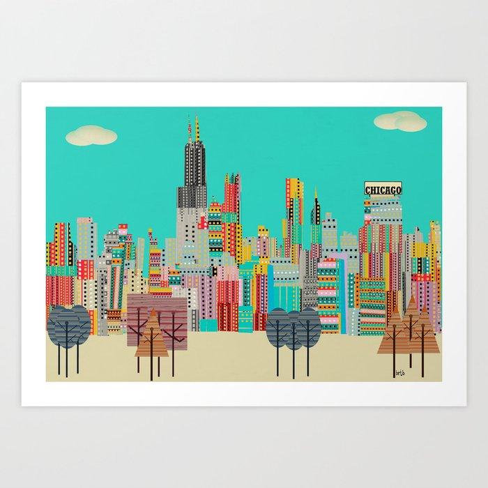 Chicago city (summer days) Art Print