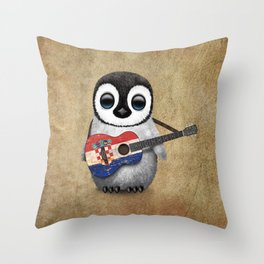 Baby Penguin Playing Croatian Flag Guitar Throw Pillow