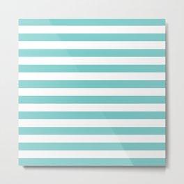 Horizontal Aqua Stripes Metal Print
