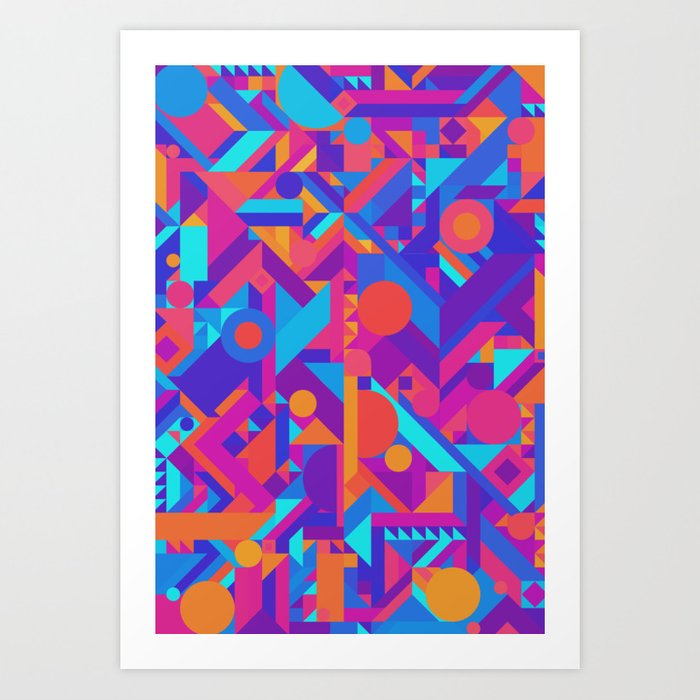 GEOMETRY SHAPES PATTERN PRINT WARM COOL COLOR SCHEME Art Print