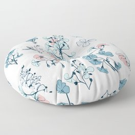 Collection of vector vintage style flowers in gentle pastel colors  Floor Pillow