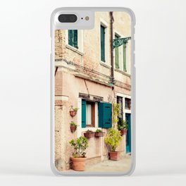 Teal Shutters Clear iPhone Case