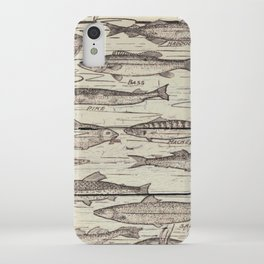 father's day fisherman gifts whitewashed wood lakehouse freshwater fish iPhone Case