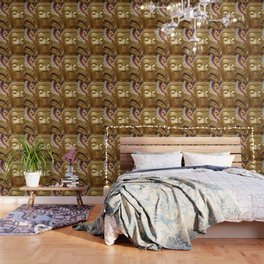 Buddha Head Illustration Design gold Wallpaper