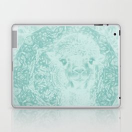 Happy Ghostly alpaca and mandala in Limpet Shell Blue Laptop & iPad Skin
