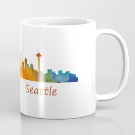Seattle Washington City Watercolor Skyline Hq v1 Coffee Mug