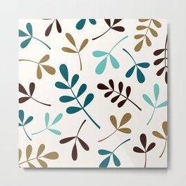 Assorted Leaf Silhouettes Teals Brown Gold Cream Metal Print
