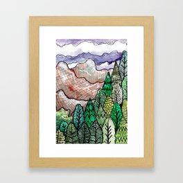 landscape forest montain pines Framed Art Print