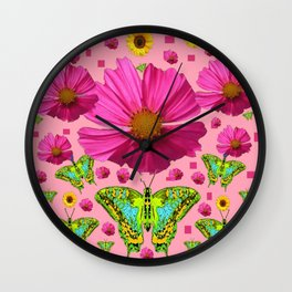 PINK COSMO FLORALS GREEN MOTHS SUNFLOWERS Wall Clock