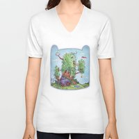 finn and jake V-neck T-shirts featuring Ode to Finn and Jake by Taylor Rose