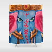 ganesh Shower Curtains featuring Ganesh by Jaclyn Sage