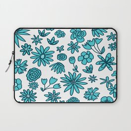 Blue Flowers on White Laptop Sleeve