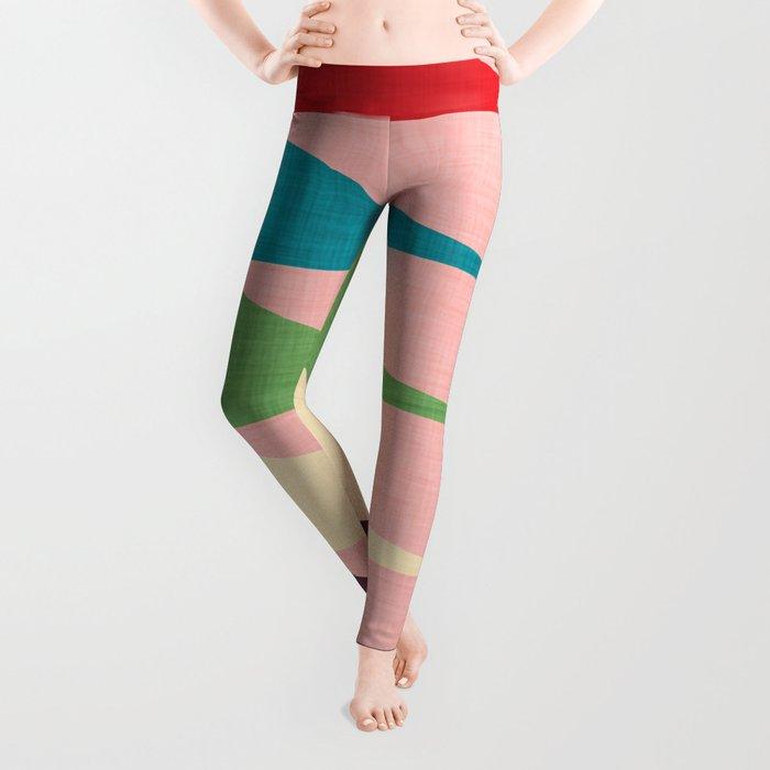 Mid century Modern Waves Pink Leggings