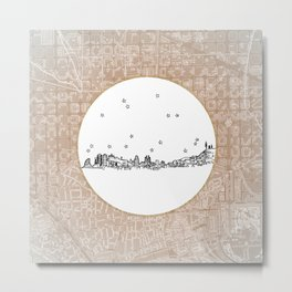 Barcelona, Spain City Skyline Illustration Drawing Metal Print
