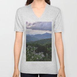 Smoky Mountain Wildflower Adventure - Nature Photography Unisex V-Neck
