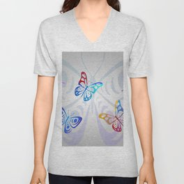 Big Butterflies with grey background Unisex V-Neck