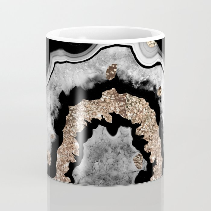 Gray Black White Agate with Gold Glitter on Black #1 #gem #decor #art #society6 Coffee Mug