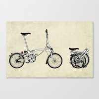 brompton Canvas Prints featuring Brompton Bicycle by Wyatt Design