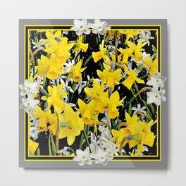 Black-Grey Art Design Yellow-White Daffodils Metal Print