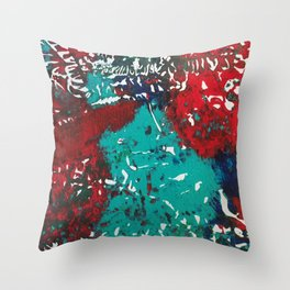 Abstracted Wolf and Kitten Throw Pillow