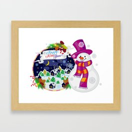 Cheerful snowman waiting for a holidays Framed Art Print
