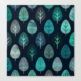 Watercolor Forest Pattern #7 Canvas Print