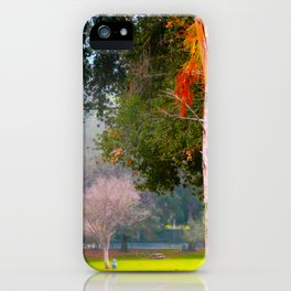 Green pastures and trees photo iPhone Case