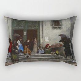 Raimundo de Madrazo y Garreta - Coming Out of Church Rectangular Pillow