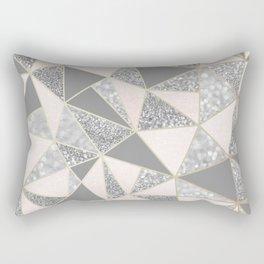 Geometric Art, Blush Pink, Gold, Gray and Silver, Modern Print Art Rectangular Pillow