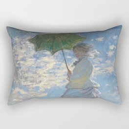 The Walk, Woman with a Parasol by Claude Monet Rectangular Pillow