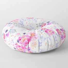 Pink lavender watercolor hand painted roses floral Floor Pillow