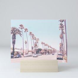 California Sidewalks // Blue Ocean Skyline Roadside Palm Trees Tropical Hollywood Paradise Mini Art Print