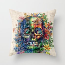 floral tropical skull Throw Pillow