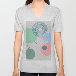 nordic scandinavian minimalist abstract grey blue pink mint green dots circle  Unisex V-Neck