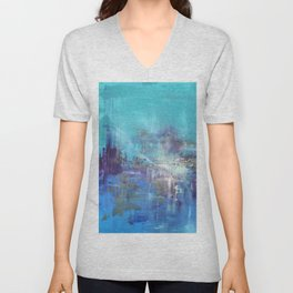 Blue Abstract Nature Painting Deep Blue Sea Unisex V-Neck