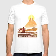 Journey On and On SMALL White Mens Fitted Tee