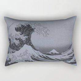 Silver Japanese Great Wave off Kanagawa by Hokusai Rectangular Pillow