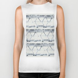 Simply Tribal Shibori in Indigo Blue on Lunar Gray Biker Tank
